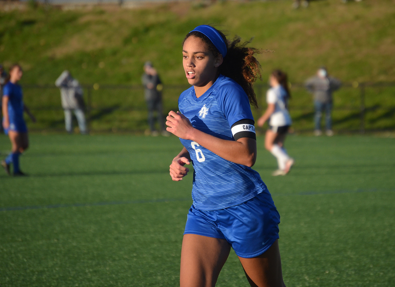 Scotch Plains-Fanwood's Corinne Lyght celebrates her team's victory.
