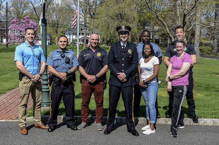 Fanwood police lieutenantDan Kranz with his fellow officers.