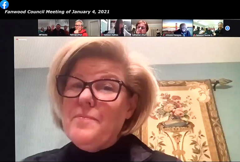 Fanwood Mayor Colleen Mahr conducts the meeting via Zoom.