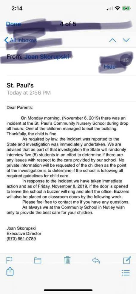 Nutley Community School Subject of State Investigation After Missing Toddler Incident