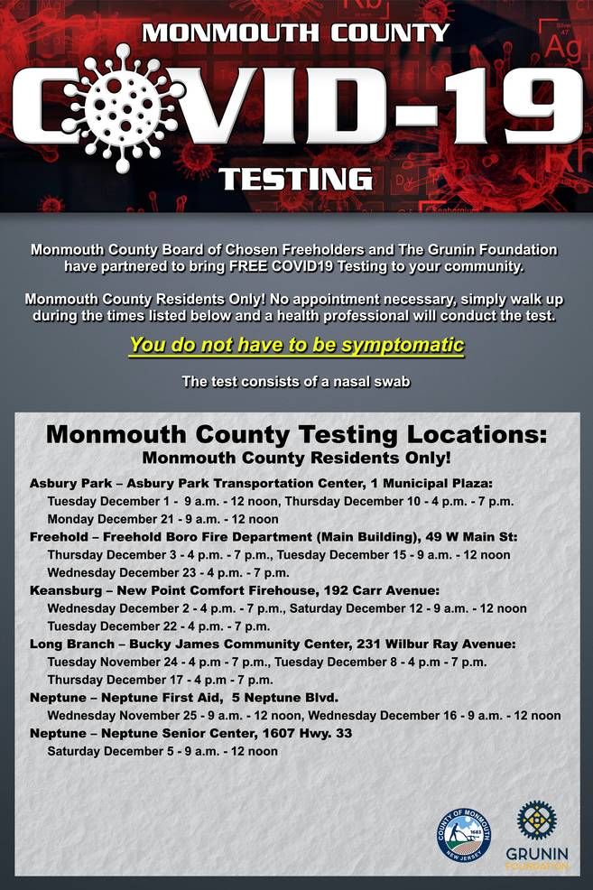Monmouth County Offers Free COVID-19 Testing for All Residents in December