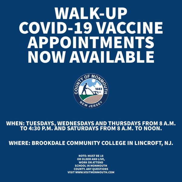 'Walk-Ups' Now Welcome at Monmouth County's Coronavirus Vaccine Site at Brookdale