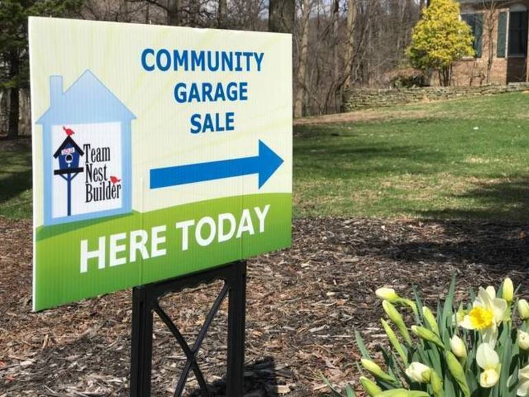 Community Garage Sale Lawn Sign in Front Lawn.JPG