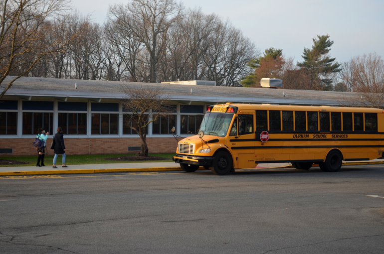 Buses arrive at Coles Elementary School in Scotch Plains.