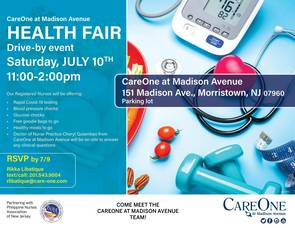 CareOne at Madison Avenue Offering a Drive By Health Fair Event in Morristown