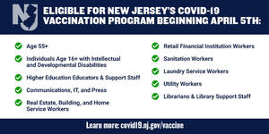 Latest COVID Vaccine Eligibility in New Jersey Beginning on April 5