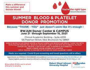 Robert Wood Johnson Blood Services Makes Urgent Appeal for Blood Donations