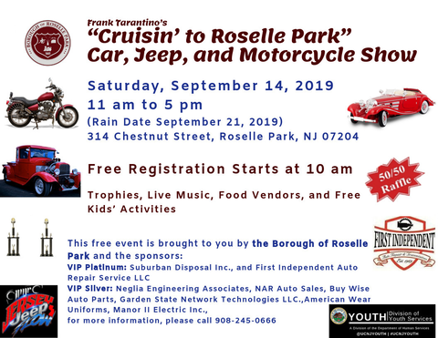 """Annual """"Cruisin' to Roselle Park"""" Car, Jeep and Motorcycle"""