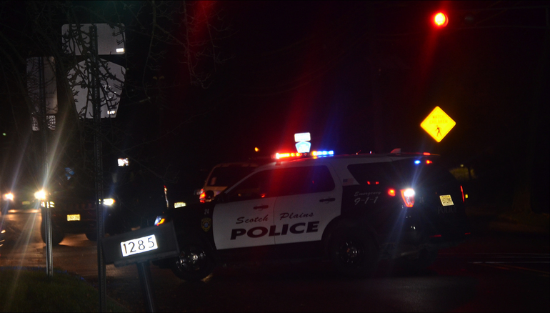 Scotch Plains police closed off Martine Ave. at West Broad St. on Wednesday evening.