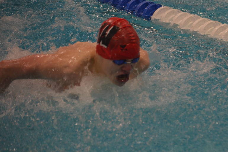 Joey Gurski of Woodbridge won the 100 Butterfly. Gurski also swims for the Fanwood-Scotch Plains YMCA.