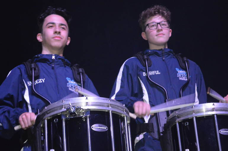 Scotch Plains-Fanwood High School marching band drummers play at Unforgettable Fire concert at Wellmont Theater in Montclair.