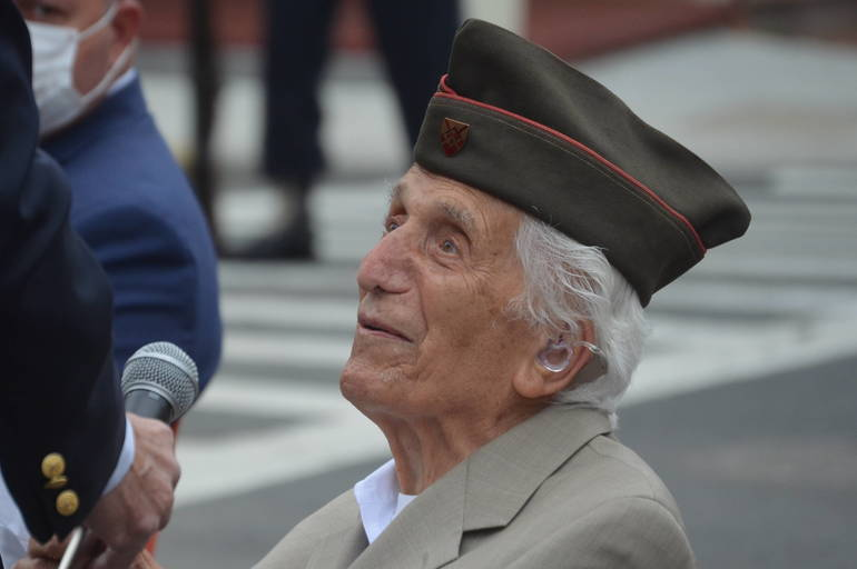 100-year-old Alphonse Fantini says a few words on Memorial Day in Scotch Plains.