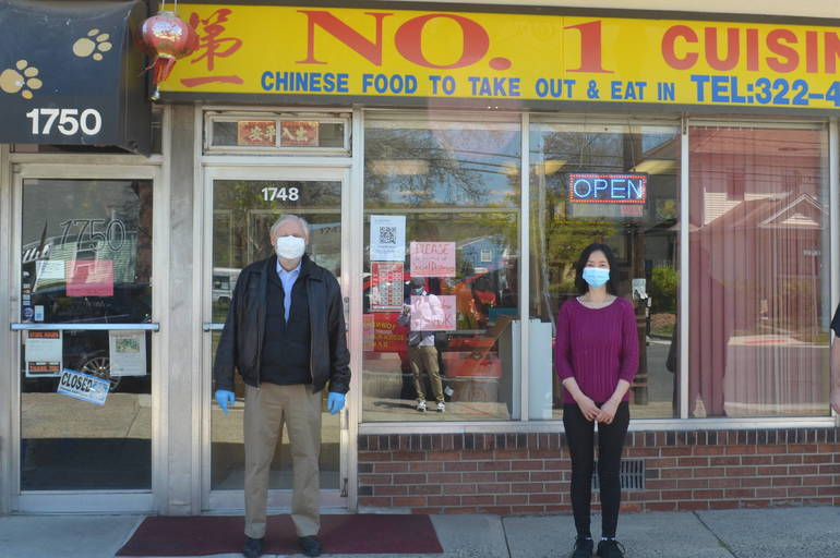 Scotch Plains Mayor Al Smith and Sue Lin, owner of No. 1 Chinese Kitchen.