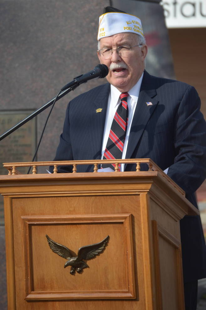 Vietnam vet Joe McCourt led the ceremonies in Scotch Plains and Fanwood on Veterans Day 2019.