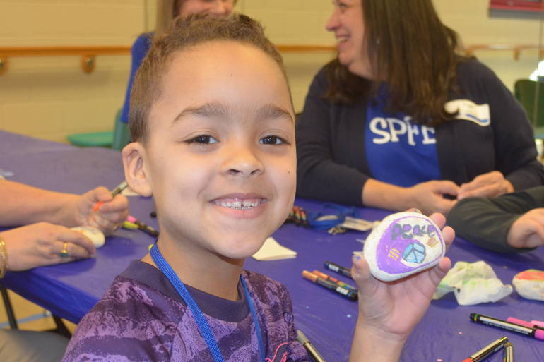 Rock-painting at the Fanwood-Scotch Plains YMCA.