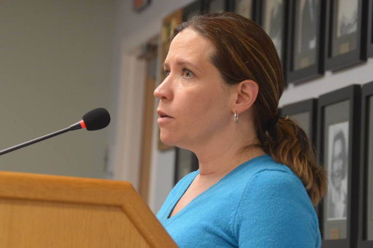 Megan Avallone at the Fanwood Borough Council meeting