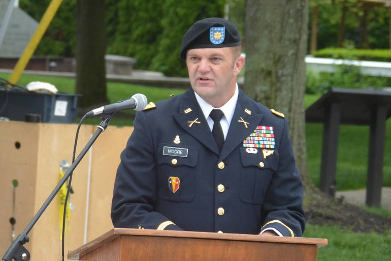 US Army Major Patrick Moore, co-Grand Marshal of the 2020 Scotch Plains-Fanwood Memorial Day Parade.