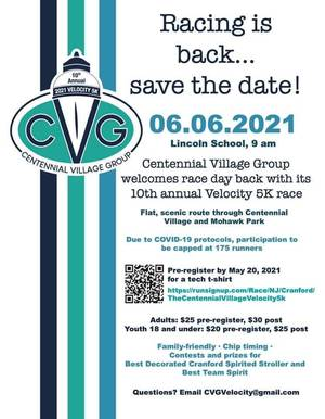 Cranford Centennial Village Group's 10th Annual Velocity 5k Race