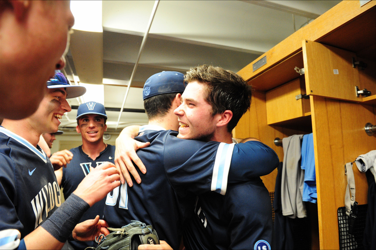 Scotch Plains-Fanwood grad Danny Wilkinson celebrates in the Villanova locker room after the game.