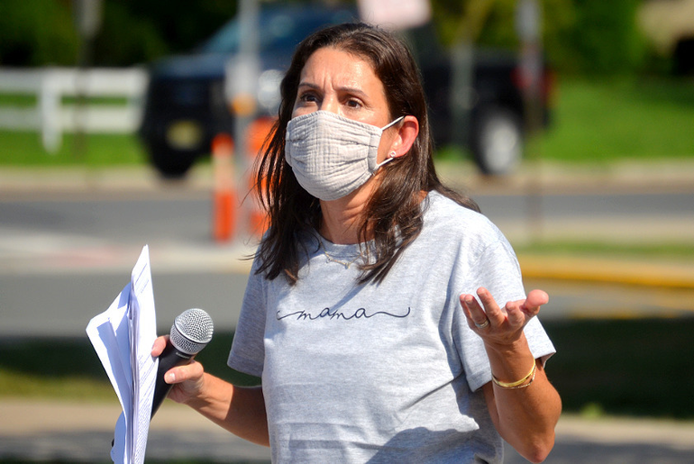 Danielle Wildstein speaks at the rally she organized in Scotch Plains