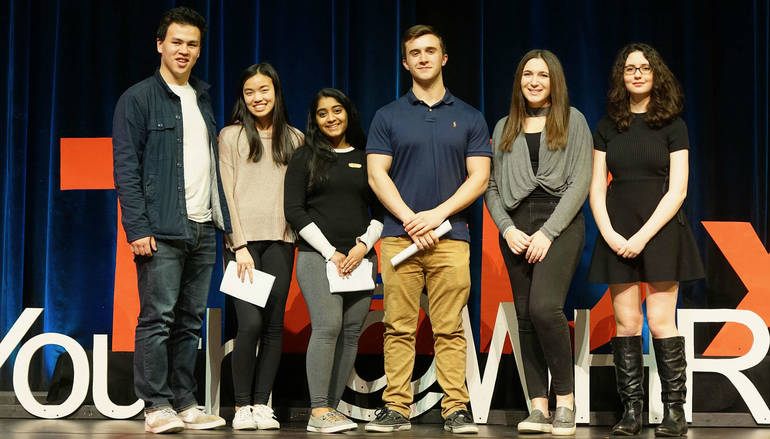 The 2019 TEDx Steering Committee included: From left, students Davin Lui, Marilyn Du, Nina Iyer, Matt McCracken, Jordyn Youngelson, and Megan Krutz.  DB294EC8-322D-486A-BD2C-E7F77635288B.jpeg