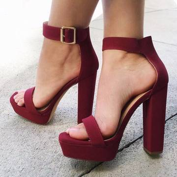 Top story fcf1a8c5226eff491d7b dbivwy l 610x610 shoes maroon chunky sole chunky heel single strap spring summer heels high heels high heel gojane burgundy high heel s 2