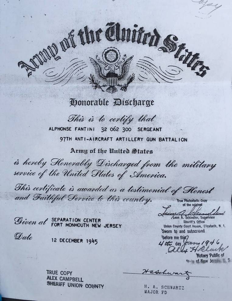 Alphonse Fantini's WWII discharge papers.