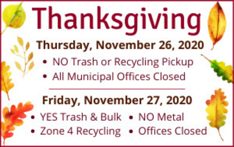 Livingston Offices to Close for Thanksgiving, No Garbage/Recycling Pickup Thursday