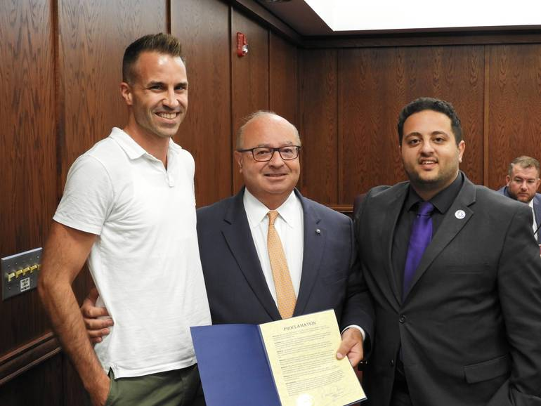 Doug Eagles, Executive Director of the Monmouth County Boys and Girls Club, Mayor Pat Menna, and Councilman Hazim Yassin.jpg