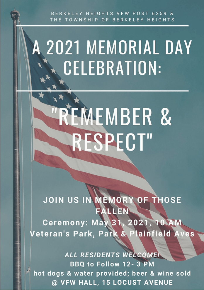 Berkeley Heights VFW Welcomes Public to Memorial Day Event