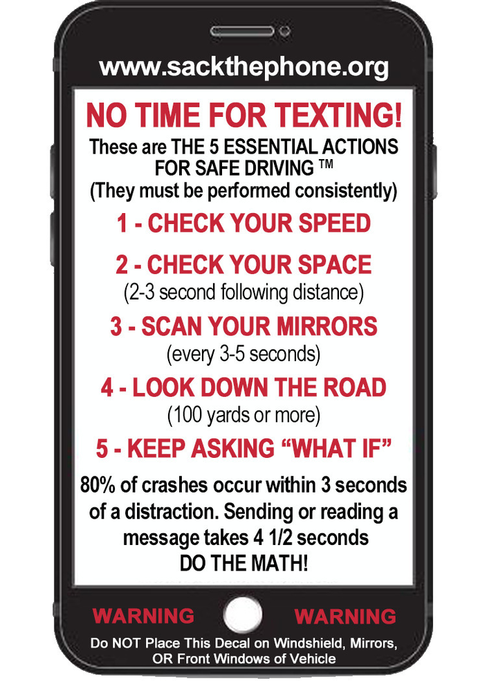 """The """"5 Essential Actions For Safe Driving"""" Decal"""