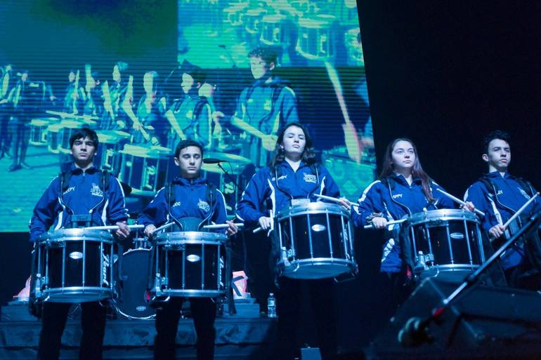 Scotch Plains-Fanwood High School marching band drummers at Unforgettable Fire concert at the historic Wellmont Theater in Montclair.