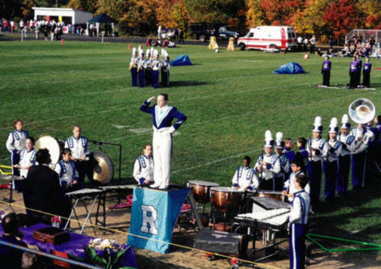 Susan DeVito as Drum Major of the Marching Rams