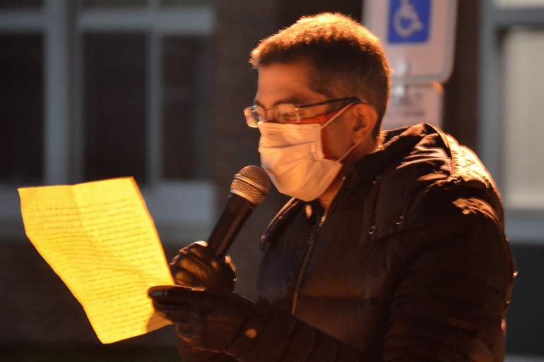 Dr. David Levine speaking about the safety of reopening schools at a recent rally outside the Scotch Plains-Fanwood Board of Education meeting.