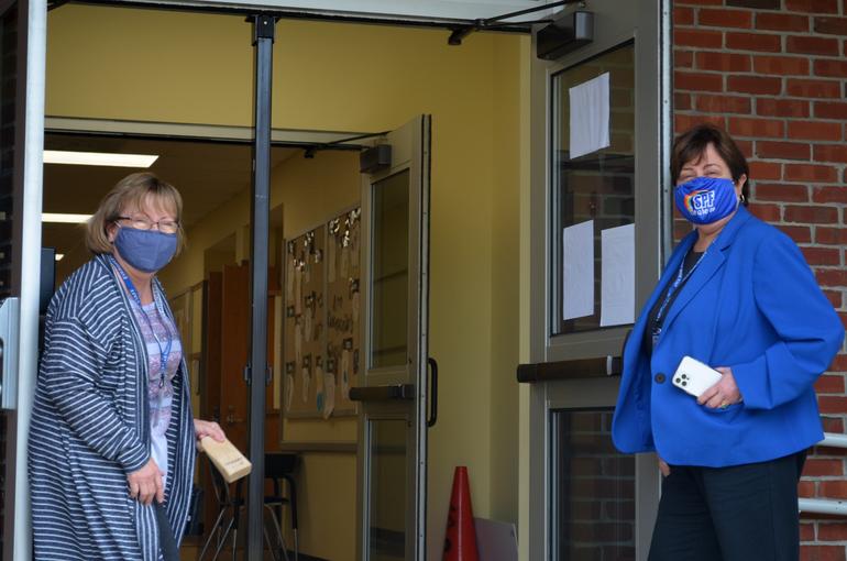 Evergreen Principal Colleen Haubert (left) and Scotch Plains-Fanwood schools superintendent Dr. Joan Mast.