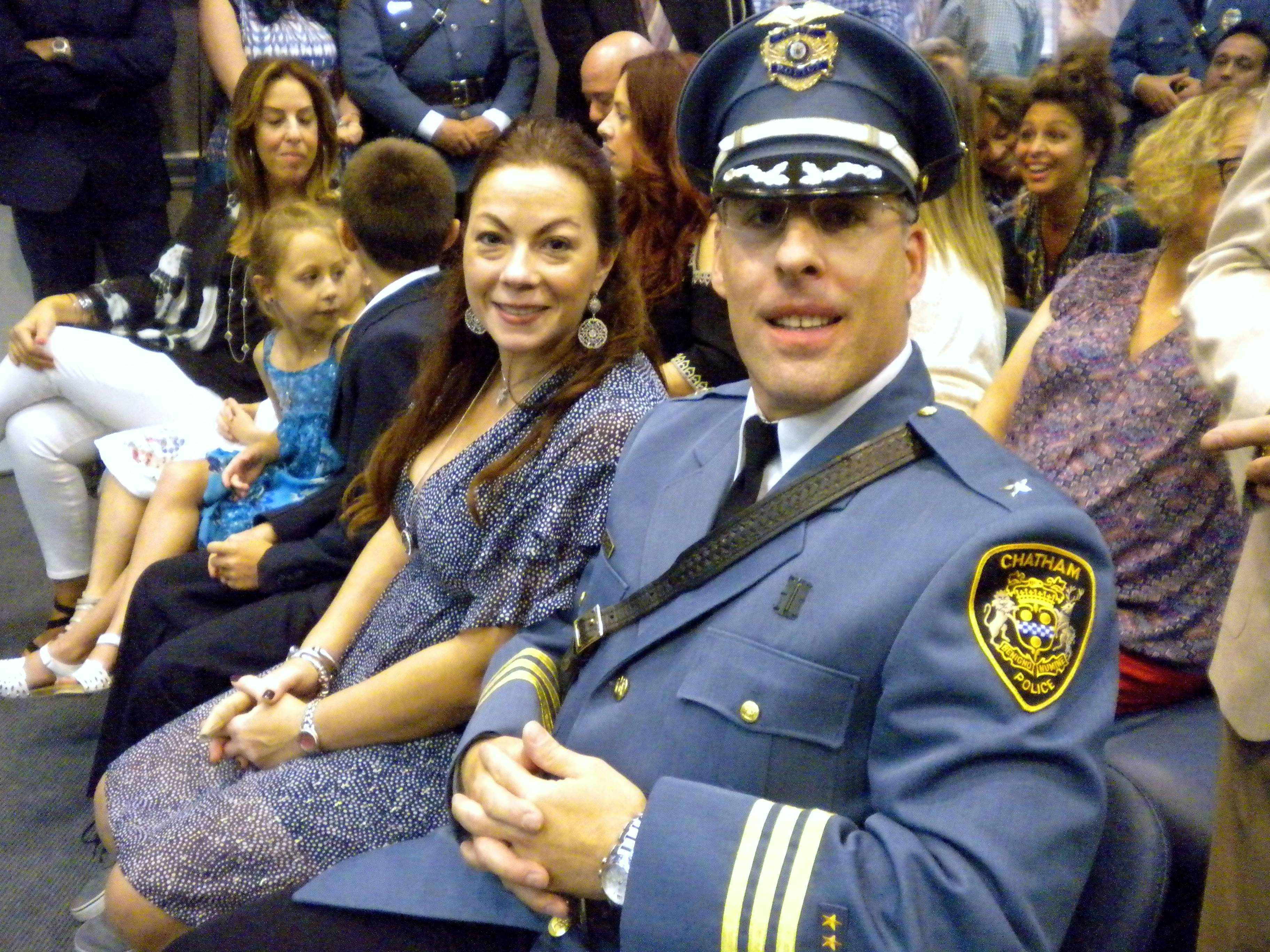 Brian Gibbons Sworn in as 9th Chatham Borough Police Chief; Overflow Crowd Shows Approval with Standing Ovation