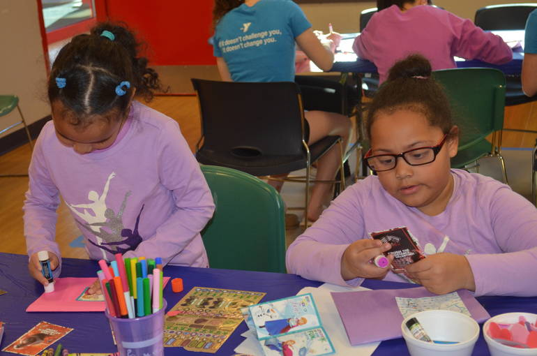 Kids make cards for veterans at the Fanwood-Scotch Plains YMCA.