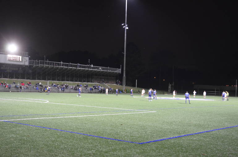 Scotch Plains-Fanwood boys soccer plays under the lights for the first time.