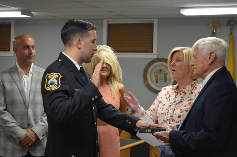 Fanwood Mayor Colleen Mahr swears in Officer Tyler Flowers