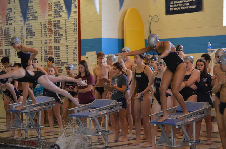 Chloe Howell of Scotch Plains-Fanwood gets ready to swim a leg of the 200 Freestyle Relay.