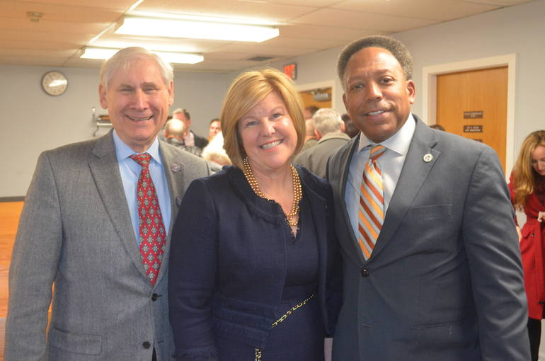 Scotch Plains Mayor Al Smith, Fanwood Mayor Colleen Mahr and Linden Mayor Derek Armstead.