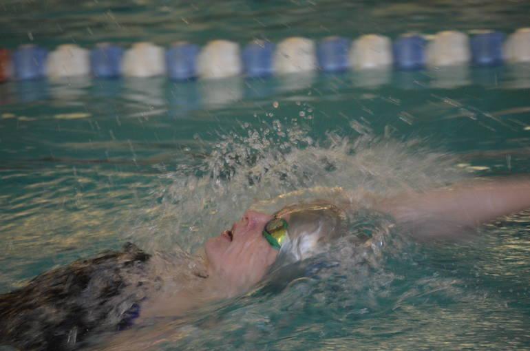 Lily Hughes of Scotch Plains-Fanwood won the 100 Backstroke.