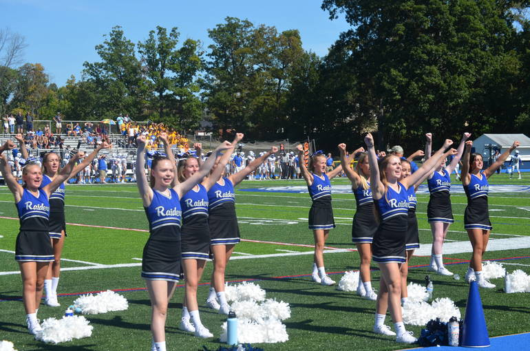 Scotch Plains-Fanwood cheerleaders encourage the Raiders