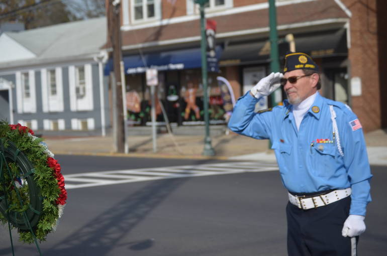 Earl Pavlik salutes fallen soldiers at Scotch Plains' Veterans Day ceremonies.
