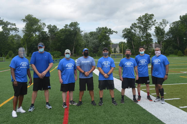 Coaches at the Scotch Plains-Fanwood PAL Football Camp 2020.
