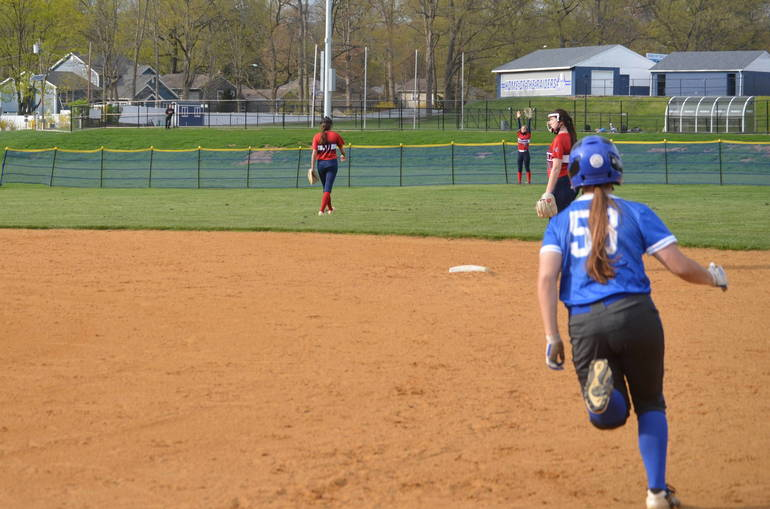 Sophia Lerner hits a 6th inning double for Scotch Plains-Fanwood in the season opener on April 19, 2021.