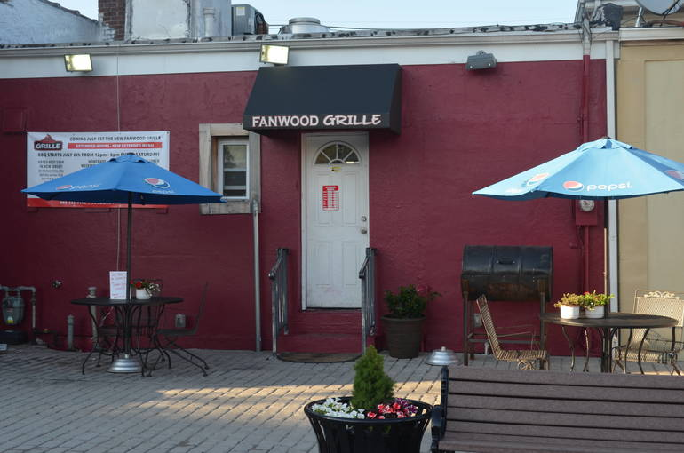 Outdoor seating in the back of the Fanwood Grille