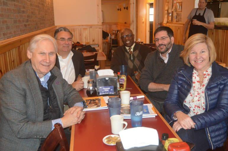 Scotch Plains Mayor Al Smith, Union County Freeholder Al Mirabella, Leland McGee of Social Justice Matters  Rabbi Joel Abraham of Temple Sholom, and Fanwood Mayor Colleen Mahr.