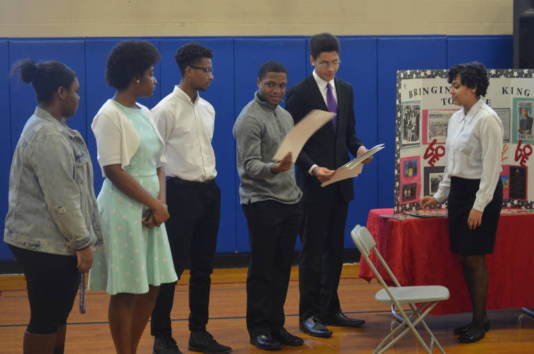 Young people portray the family of Dr. Martin Luther King at MLK Day of Service in Scotch Plains-Fanwood.