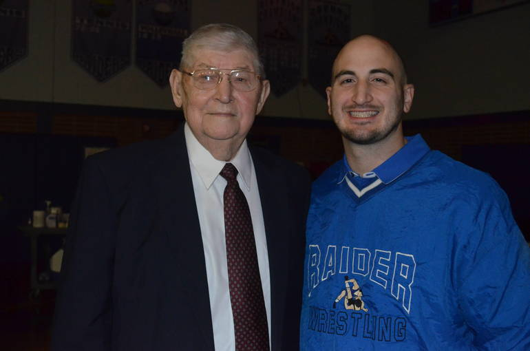 Longtime Scotch Plains-Fanwood wrestling coach Len Zanowicz and current coach Marc Fabiano.
